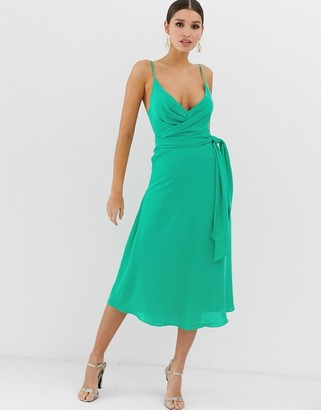 Asos Design DESIGN cami wrap midi dress with tie waist-Green