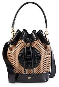 Fendi Women's Mon Tresor Perforated Leather Bucket Bag