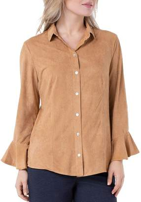 Liverpool Los Angeles Faux-Suede Flounce Shirt