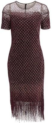 Pamella Roland Sequin Fringe Cocktail Dress