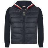 Moncler MonclerBoys Navy Down Padded & Knitted Zip Up Top