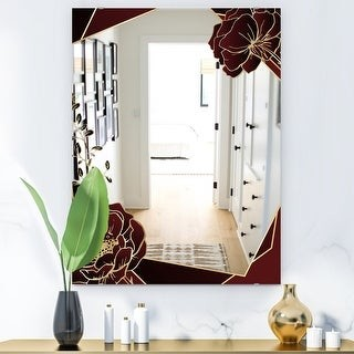 Design Art Designart Black And Gold Marble Floral Geometric Viii Glam Mirror Frameless Vanity Mirror Shopstyle
