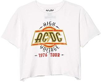 The Original Retro Brand ACDC High Voltage Raw Edge Vintage Cotton Tee (White) Women's Clothing