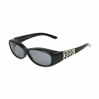 Solar Shield Fits Over Sunglasses Fashion Adele Oval (M) Blk/Gry
