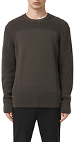 Allsaints Allsaints Marsk Front Panel Cotton Jumper, Khaki Brown
