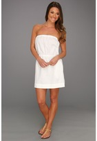 C&C California GD Linen Woven Bandeau Tie Dress (White) - Apparel
