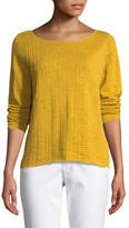 Eileen Fisher Organic Linen/Cotton Knit Box Top, Plus Size