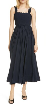 La Ligne Smocked Bodice Silk Midi Dress