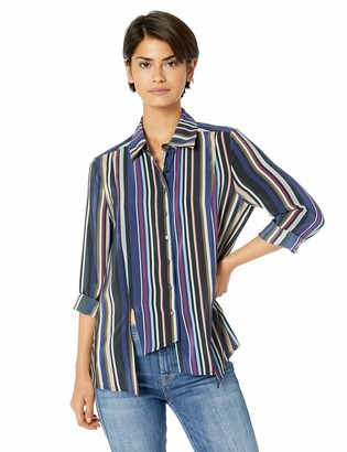 Nicole Miller Women's Flight Stripe Asymmetrical Boyfriend Shirt
