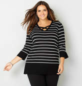 Avenue Criss Cross Stripe V-Neck Pullover Sweater