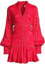 Alexis Sarabell Lace-Trim Jacquard Puff-Sleeve Dress