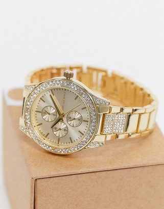 ASOS DESIGN bracelet watch with crystals in gold tone