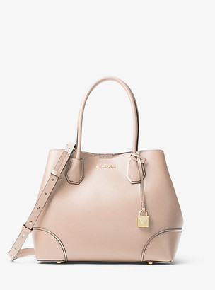 MICHAEL Michael Kors MK Mercer Gallery Medium Leather Satchel - Soft Pink - Michael Kors