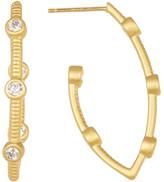 Freida Rothman 14K Gold Plated Sterling Silver CZ Bezel Station Hoop Earrings