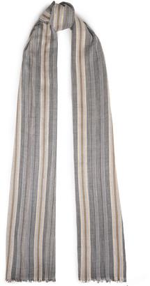 Brunello Cucinelli Frayed Striped Cotton-blend Gauze Scarf