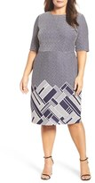 Gabby Skye Plus Size Women's Stripe Jacquard Knit Body-Con Dress