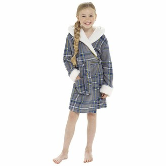 Undercover Lingerie Girls Foxbury Check Print Dressing Gown LN177 Wine 11-12 Years