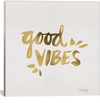 iCanvas icanvasart Good Vibes Gold Artprint By Cat Coquillette
