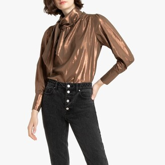 La Redoute Collections Metallic Pussy-Bow Shirt in Cotton Mix with Long Sleeves
