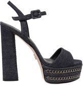 Le Silla 140mm Chain Denim Platform Sandals