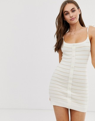 Emory Park tie shoulder dress in knitted stripe-Cream