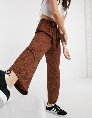 Brave Soul issey wide leg printed pants with tie waist