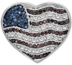 Macy's Diamond Flag Heart Pin (1/4 ct. t.w.) in Sterling Silver