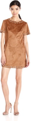Glamorous Women's Faux Suede Rivet Shift Dress