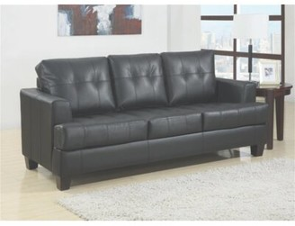 """Latitude Run Ewenn Faux Leather 85"""" Wide Square Arm Sleeper Sofa Bed Upholstery Color: Black Faux Leather"""