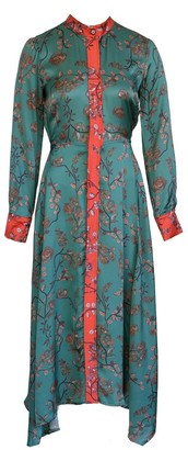 Anna Etter Green Satin Dress Edie With Japanese Style Floral Print