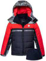 London Fog 2-Pc. Hat & Hooded Colorblocked Puffer Jacket Set, Boys (8-20)