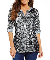 Westbound Y-Neck 3/4 Roll Sleeve Printed Top