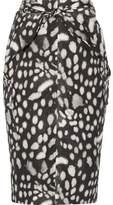 Max Mara Leopard-Print Cotton-Poplin Skirt
