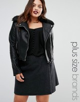 Boohoo Plus Leather Look Biker With Faux Fur Collar
