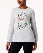Karen Scott Petite Embellished Puppy Holiday Sweatshirt