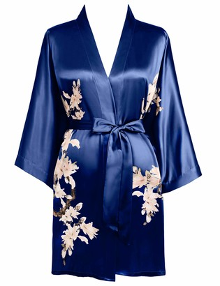 BABEYOND Satin Kimono Dressing Gown Short Floral Printed Kimono Robe Long Knee Length Kimono Dress Cover Up for Women Wedding Pyjamas Party (Gray)