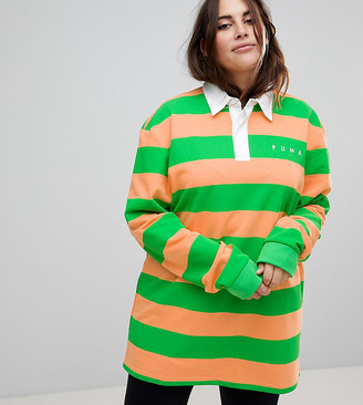 Puma Exclusive To ASOS Plus Striped Rugby Jersey In Orange