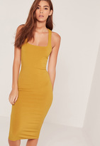Missguided Rib Strap Back Bodycon Dress Yellow