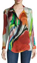 Josie Natori Silk Printed Blouse