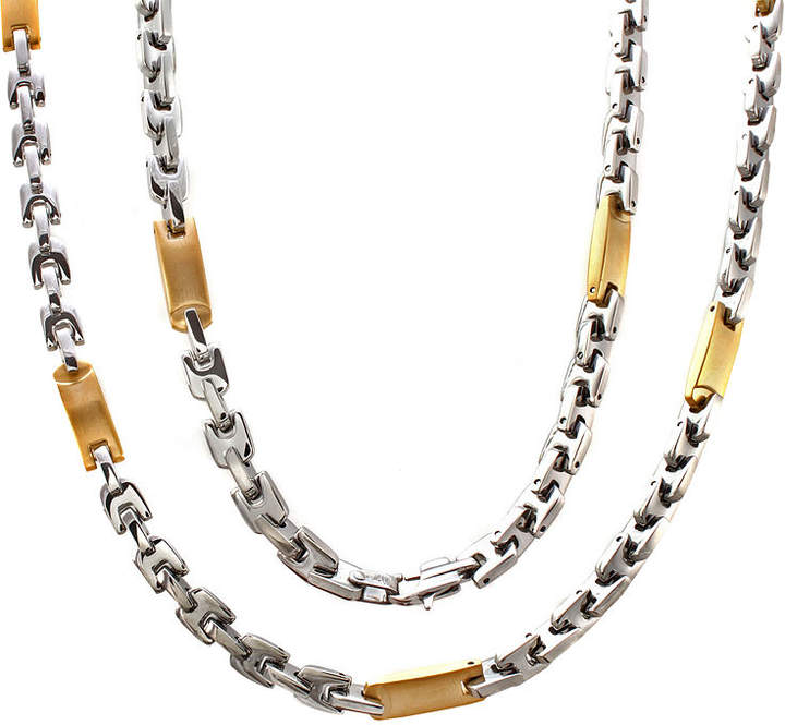 JCPenney FINE JEWELRY Mens Two-Tone Stainless Steel Link Necklace