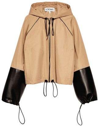 Loewe Leather-Sleeve Hooded Jacket