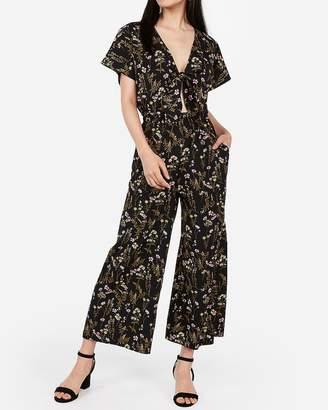 Express Floral Tie Front Cut-Out Jumpsuit