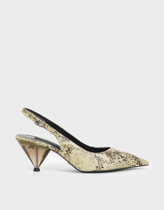 Charles & Keith Leather Snake Print Cone Heel Pumps