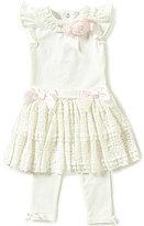 Edgehill Collection Baby Girls Newborn-6 Months Flutter-Sleeve Top & Lace Skirted Leggings Set