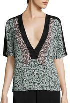 A.L.C. Lilias Deep V-Neck Silk Top
