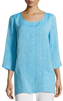 Caroline Rose Chambray Pocket-Front Tunic