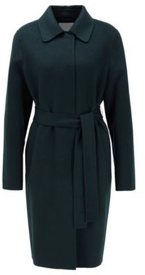 HUGO BOSS Relaxed Fit Coat In Hand Stitched Fabrics - Dark Green