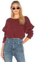 Current/Elliott The Ruffle Sweatshirt in Wine. - size 0 / XS (also in 1 / S,2 / M,3 / L)