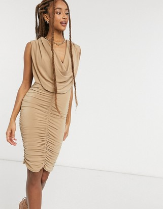 John Zack cowl front ruched detail mini dress in camel