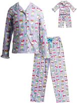 Dollie & Me Lilac Snow Bear Sleep Top Set & Doll Outfit - Girls